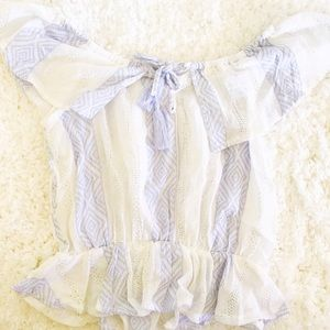 White and Baby Blue Ruffle Top